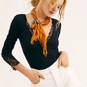 Long Sleeve Free People Top with Lace Detail